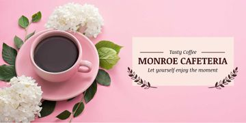 Cafeteria Advertisement with Coffee Cup in Pink