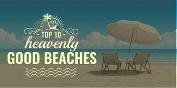 Travel Destinations with Chaise-Lounge and Umbrella on Beach