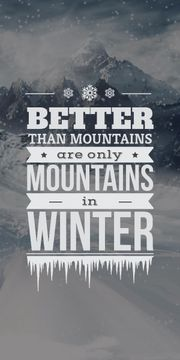 Winter holiday poster with mountains