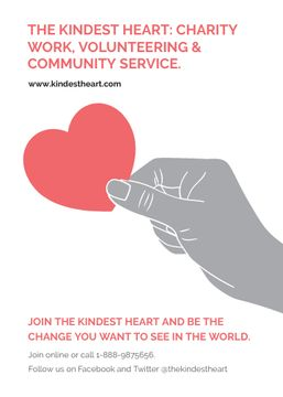 Charity event Hand holding Heart in Red