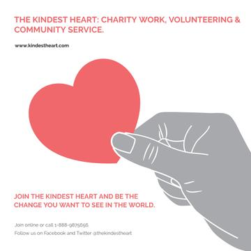 Charity Work with Hand holding Red Heart