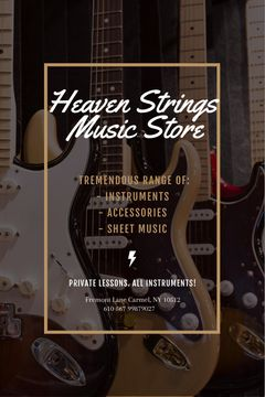 Guitars in Music Store