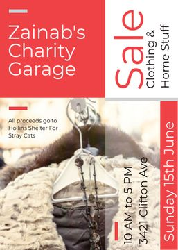 Charity Sale Announcement Clothes on Hangers