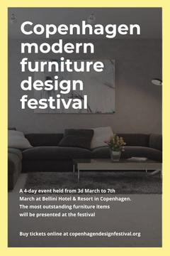 Design Event Announcement with Sofa in Grey