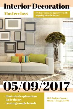 Interior Decoration Event Announcement with Interior in Grey