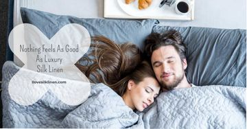 Luxury silk linen website with couple sleeping