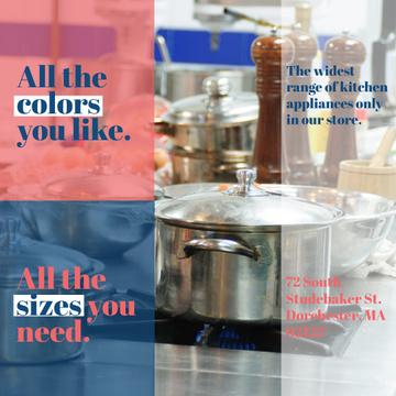 Kitchen Utensils Store Ad Pots on Stove