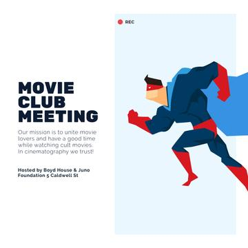 Movie club meeting with running Superman