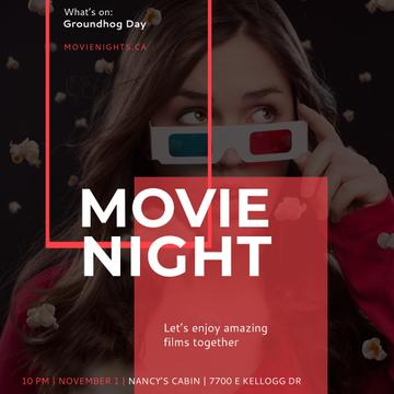 Movie Night Ad with Girl in Cinema