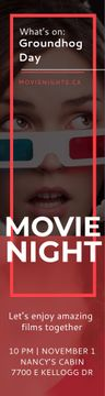 Movie Night Event Woman in 3d Glasses