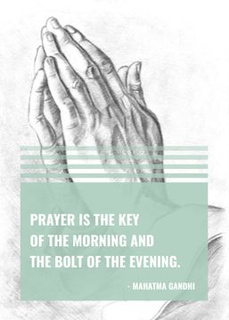 Religion Quote with Hands in Prayer