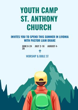 Youth Religion Camp invitation with boy in Mountains