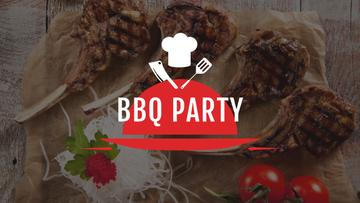 BBQ Party Invitation with Grilled Meat