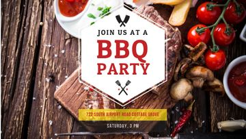 BBQ Party Invitation with Grilled Steak
