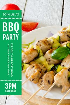 BBQ Party Invitation with Grilled Chicken on Skewers