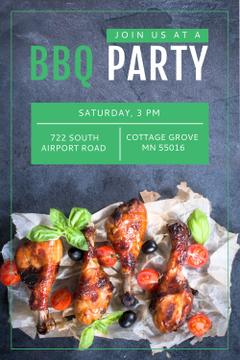BBQ Party Invitation with Grilled Chicken