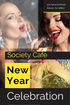New Year Party Invitation Women Celebrating