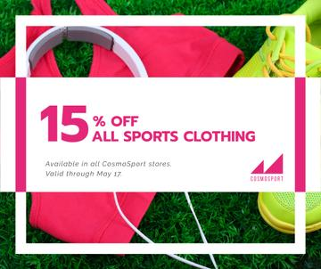 Sports clothing sale ad with Headphones and Sneakers
