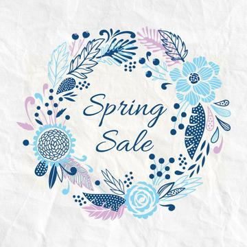 Spring Sale Advertisement Flowers Wreath in Blue