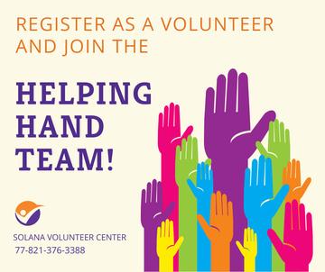 Volunteering team colorful Hands Raised