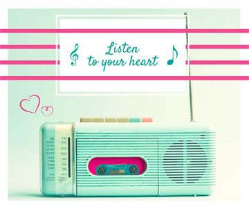 Inspirational quote Retro Radio in Mint color