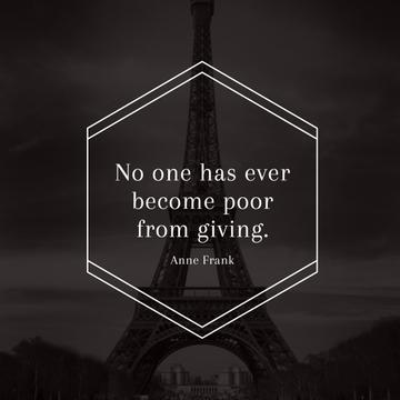 Citation about Charity with Eiffel Tower