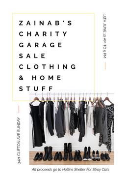 Charity Sale announcement Black Clothes on Hangers