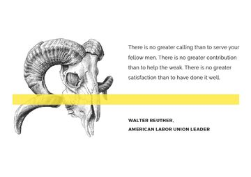 Volunteer Work Quote with animal Skull