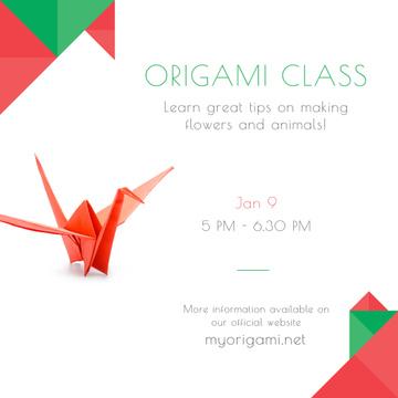 Origami class Invitation with Paper Bird