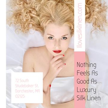 Luxury silk linen Ad with Tender Woman