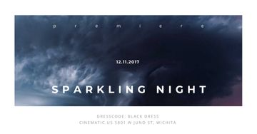 Sparkling night event with dark clouds