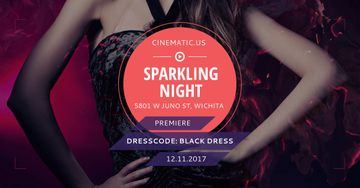 Sparkling night party with posing Woman
