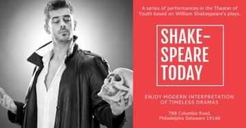 Shakespeare's performances with Actor holding Skull