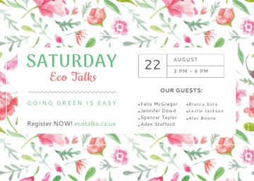 Eco Talks Announcement Watercolor Flowers Pattern