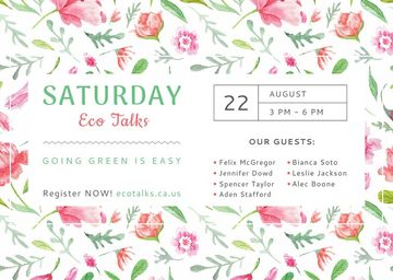 Saturday eco talks in Floral Frame