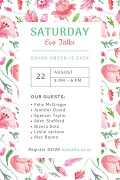 Ecological Event Announcement Watercolor Flowers Pattern