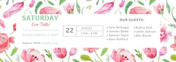 Eco Event Announcement Watercolor Flowers Pattern