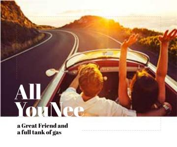 Travel Inspiration Couple in Convertible Car on Road