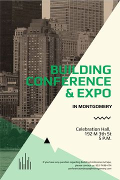 Building conference invitation on Skyscrapers in city