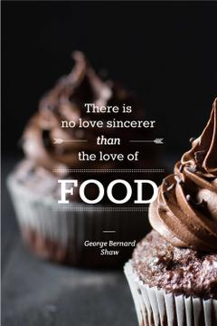 Delicious chocolate muffins with quote
