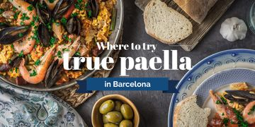 Paella Spanish Dish with Bread and Olives