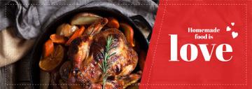Homemade Food Recipe Roasted Turkey in Pan