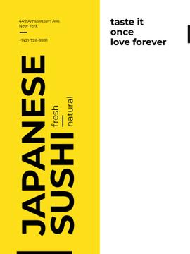Japanese sushi advertisement poster