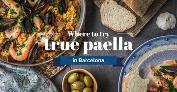 Spanish paella Dish on Table