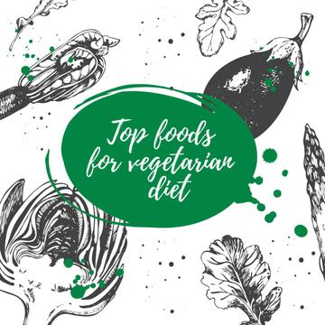 Foods for vegetarian diet with Veggie illustration