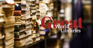 World Libraries Ad with Old books on shelf