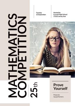 Mathematics Competition Announcement with Girl Staying