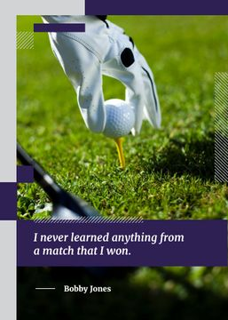 Inspiration Quote Player Holding Golf Ball