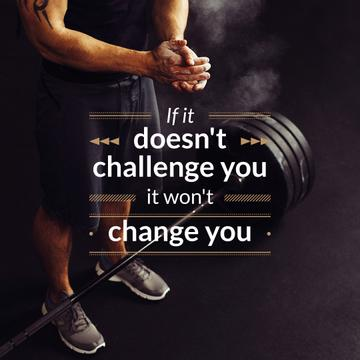 Sportsman with Barbell and Motivational Quote