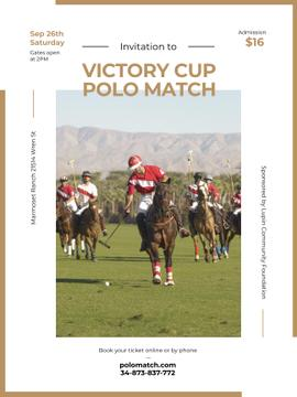 Polo match invitation with Players on Horses